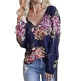 TianWlio Damen Langarmshirt Bluse T-Shirt Tops Mode Frauen V-Ausschnitt Langarm Druck Lose T-Shirt Bluse Casual Tops