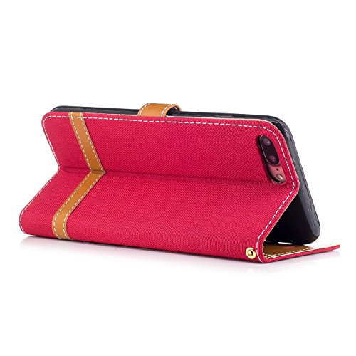 iPhone 7 Plus 5,5Zoll Schutzhülle,iPhone 7 Plus Leder Hülle,TOYYM Ultra Dünn Full Body Protection Flip Leder Wallet Brieftasche Case 3 in 1 Handytasche mit Stand Funktion Kartenfächer Magnetverschluss Rot