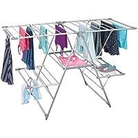 mDesign Tendedero plegable para colgar la ropa – Ideal como secador de ropa extensible – Tendedero de ropa plegable fabricado con aluminio – plateado