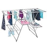 Séchoir à linge argenté mDesign - idéal comme étendoir, séchoir parapluie, étendant, séchoir à lessive - pliable, beaucoup de surfaces de rangement