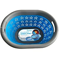 Laundry Master Plegable Cesta para la Ropa Sucia, Azul/Gris