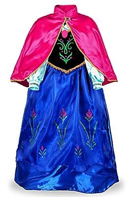 JerrisApparel Niña Princesa Anna Disfraz Fiesta de Cosplay Vestido