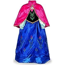 JerrisApparel Princesse Manches Longues Robe Costume Déguisement Filles Robe (100cm, Bleu)