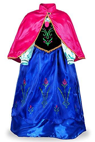 JerrisApparel Prinzessin Kostüm Karneval Verkleidung Party Kleid (120, Blau) (Anna Kostüm Damen)