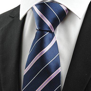 Handgemachte Weiß-gestreift Seide Krawatte (FYios®Rosa Weiß gestreift Marine Blau Herren Krawatte Krawatte Geschäftsreise Geschenk #0009, One-Size, One-Size)