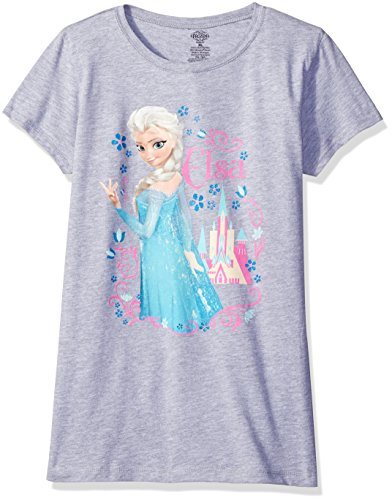 Disney Frozen–Elsa Schloss Mädchen Youth T-Shirt, Grau, FESS102-3710
