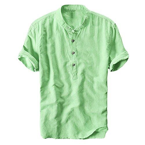Pxmoda Herren Leinen und Baumwolle V-Ausschnitt Kurzarm T-Shirts Casual Tee (XXL, Grün) (Baumwolle Kurzarm Tee)
