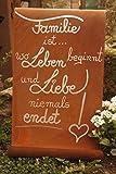 Edelrost Tafel Familie ist. Garten Schild Spruch Geschenk Text Deko Wandschmuck