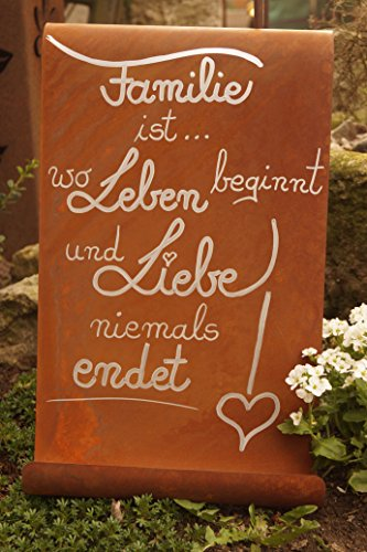 edelrost tafel familie ist garten schild spruch geschenk text deko wandschmuck. Black Bedroom Furniture Sets. Home Design Ideas