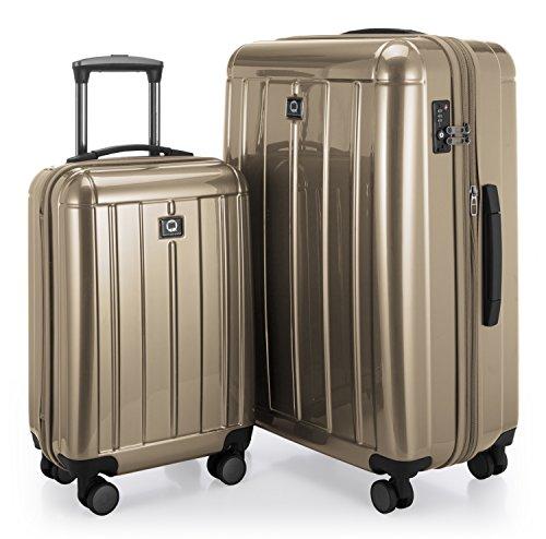 Hauptstadtkoffer - kotti - set 2 bagagli rigidi, valigie cabina e grande (s & l), policarbonato lucente, oro