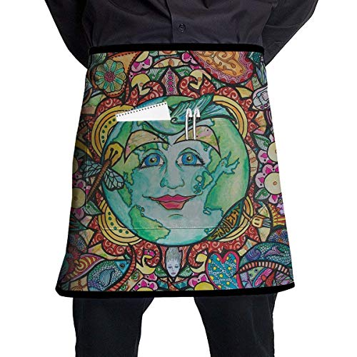 MSGDF Trippy Sun Moon Waitress Apron - Durable Polyester Waist Bib Apron with Pockets Long Ties Extra Coverage Commercial Grade Server Aprons Comfortable Half Apron Half Moon Zip