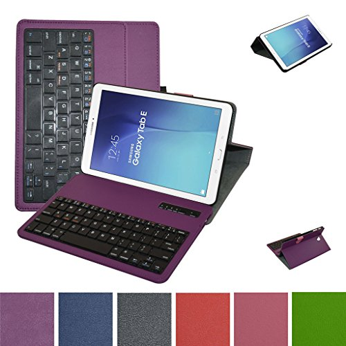 """Samsung Galaxy Tab E 9.6 Bluetooth Tastatur hülle, Mama Mouth Abnehmbare Bluetooth Tastatur (QWERTY, englisches layout) hülle mit Standfunktion für 9.6\"""" Samsung Galaxy Tab E 9.6 T560 T561 Android Tablet-PC,Violett"""