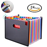 Expanding File Folder – GossipBoy Grande Plastique Rainbow Trieur Extensible Self Debout Accordéon Document A4 Fichier Wallet Briefcase Business Boite de Classement – 24 Poches (C1)