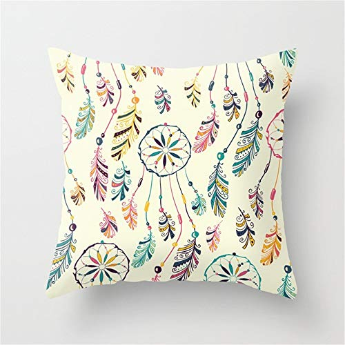 Wangji Duradero Suave Decorativo Funda de Almohada cojín para sofá Dormitorio Coche Fundas de cojín,4PACKS Blanco atrapasueños imprimiendo 45 * 45CM