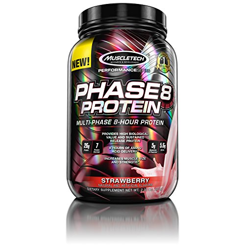 MuscleTech Phase 8 Protein Powder, Multi-Phase 8-Hour Protein Formula, Strawberry, 2.0 lbs (907g) - 51 iE8KqfPL