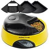 Andrew James - Programmierbarer Automatischer Futterautomat Haustierfütterer für 4 Tage oder 4 Mahlzeiten In Gelb - Mit Sprachaufnahme-Funktion