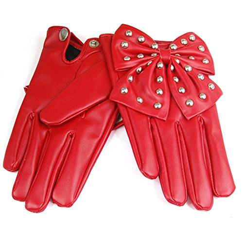 veroda Damen Lady Gaga BIG Schleife Nieten Kunstleder Handschuhe Gr. L, Rot - (Gaga Lady Handschuhe)
