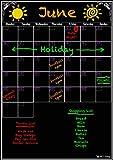 Planificateur mensuel effaçable à sec pour organiser votre vie et être plus productif Calendrier noir réutilisable - Format A3- Effaçable à sec pour une planification flexible. Un calendrier mural de qualité supérieure. Prêt à coller sur le réfrigérateur.