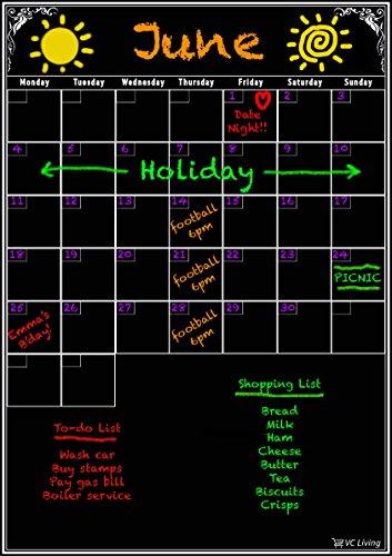 Dry Erase Board Monatsplaner Ihre Life & produktiver sein. wiederverwendbar schwarz 27,9x 43,2cm Dry Erase Kalender für flexiblen Planung. Die beste Wand Kalender. Kühlschrank bereit.
