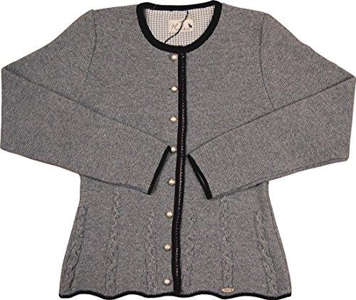 Huber Damen Trachten Merino Strickjacke Nicki in verschiedenen Ausführungen, Größen:46;Farbe:steingrau - schwarz