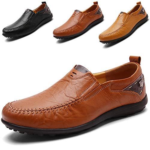 LSGEGO Herren Mokkasins Slip on Casual Männer Loafers Frühling und Herbst Herren Mokassins Schuhe aus echtem Leder Herren (44, Braun-11) - Leichte Gummi Sohle Mokassins