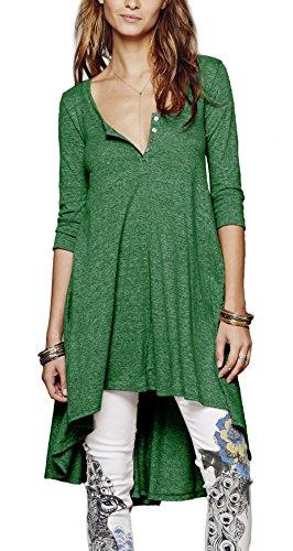 Urbancoco Damen kurz Ärmelige button down Asymmetrisch T-Shirt Sommer Tunika (XXL, dunkelgrün)