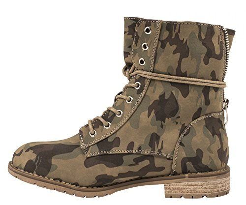 ... Lacets Worker Bottines Chicago Talon Cuir À Camouflage Taille Femme  Biker Boots rivets Aspect 36– ... 24130e9baa84