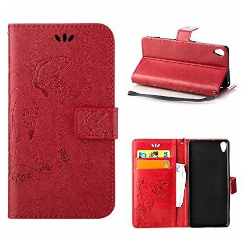 MOONCASE Xperia X Hülle, Schmetterling Tasche Pu Leder Klappetui Bookstyle Schutzhülle für Sony Xperia X Handyhülle Magnetisch [Card Slot] TPU Case mit Standfunktion und Wrist Strap Rot