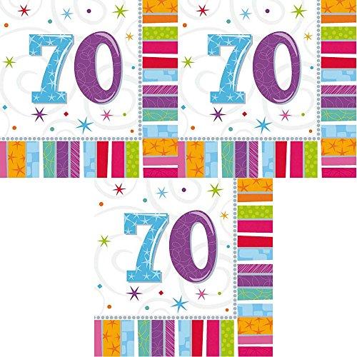 berlin-ballons 3er Pack Servietten 48 Stück Zahl 70 zum Geburtstag Radiant