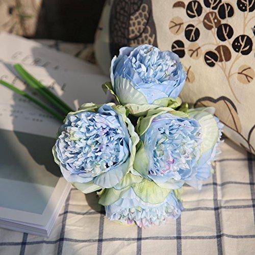 ZTTLOL Künstliche Blume PfingstroseBrautstraußGefälschte Blume Für Hochzeit Home New Year Dekorative Herbst Blume, Blau