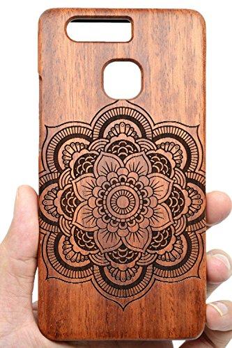Cassa di Legno di Huawei P9, PhantomSky[Serie di Lusso] Qualit à Premium Cover in Bambù / Legno Naturale per il tuoSmartphone - Mandala Palissandro(Rose Wood Mandala)