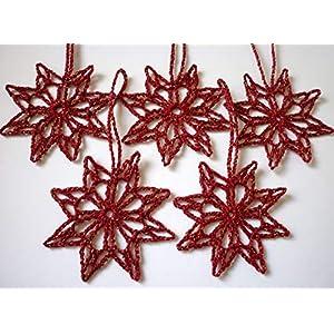 5x Häkelsterne, weinrot, Weihnachtsdeko