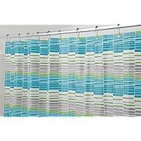 mDesign Wick Stripe Tenda Doccia Senza PVC, in PEVA, 180 x 200 cm - Acqua/Verde/Grigio