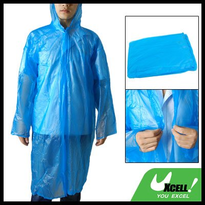 sourcingmap Erwachsene Einzel Breasted Kunststoff Regenjacke Poncho Blau