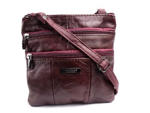 - 51 iIXN89eL - LADIES NEW LEATHER OVER BODY SHOULDER HANDBAG 3766 (BURGUNDY)