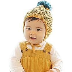 Gorros Bebé,Xinan Lana Invierno sombrero de Casco Bola de Pelo Earcuff Hat (Amarillo)