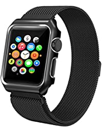 Correas Apple Watch Band 42mm OverDose correa de reloj banda magnética de malla de acero inoxidable con funda protectora de metal