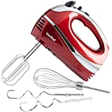 VonShef Professional 300W Hand Mixer, Red, Includes Chrome Beaters, Dough Hooks, Balloon Whisk   5 Speed With Turbo Button