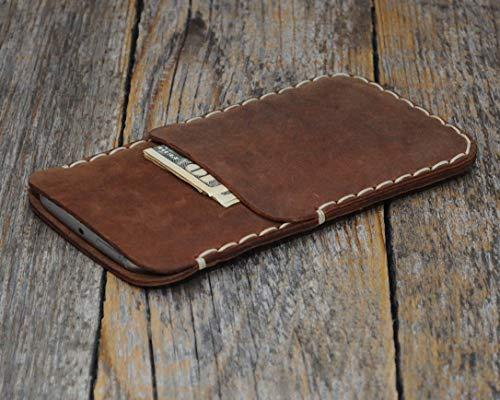 Braunes Leder Tasche Hülle für iPhone XS, X Etui Cover Case Handyschale Gehäuse Ledertasche Lederetui Lederhülle Handytasche Handysocke Handyhülle Schale