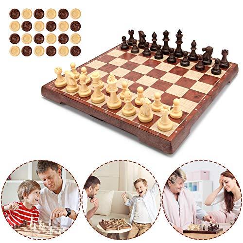Muscccm Juego de Ajedrez, Tablero de ajedrez 2 en 1 Magnético de...