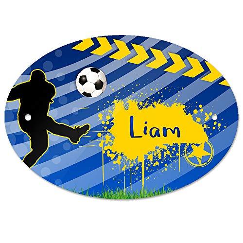 Eurofoto Türschild mit Namen Liam und Fußball-Motiv für Jungen | Kinderzimmer-Schild -