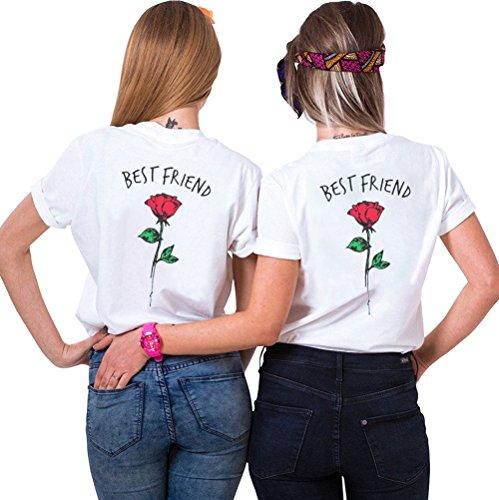 JWBBU Best Friends Sister Tshirt für Zwei Damen Freund Shirts mit Rose Tops Sommer Oberteil BFF Geburtstagsgeschenk 2 Stücke Symbolische Freundschaft (weiß+weiß,S+S)