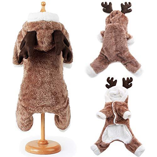 Esoes Weihnachts-Kostüm für Hunde und Katzen, lustiges Elch-Kostüm, Cosplay-Kleid, Welpen, Winter-Outfit, warm, Kapuzenpullover, Tier-Festival Kleidung