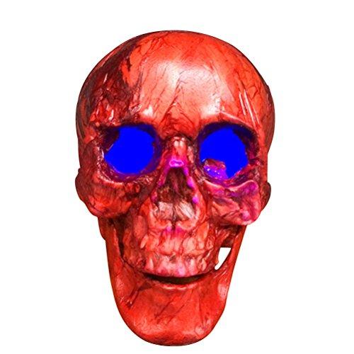 del Kopf Halloween Schädel Dekor Neuheit Spielzeug Comedy Parodie Menschlichen Prop Schädel Kopf Ornament (Rot) ()
