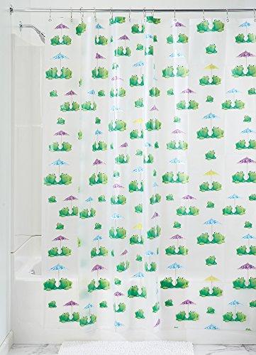 InterDesign Frogs Schimmel-/Spakresistenter Wasserdichter Duschvorhang aus PEVA, 180 x 200 cm, mehrfarbig