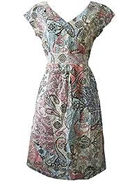 2d808d93bfa7c0 Ex White Stuff Pink Blue Paisley Faux Wrap Tea Dress Ladies Womens Dresses  Casual Transitional