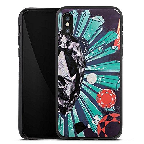 Apple iPhone X Silikon Hülle Case Schutzhülle Damant Schmuck Diamanten Silikon Case schwarz