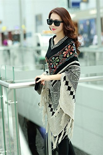 Honghu Femme Casual Loose Manches Longues Ponchos & Capes Pulls Basic Loisirs Sweater Beige