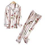 NVYISHUI Pyjamas Frauen Frühling und Herbst Ice Silk Zweiteiler Home Service Anzug Dünnschliff Printed Pyjamas Frauen Lange Ärmel