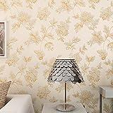 Simple Continental tela no tejida wallpaper 3D estereoscópico tallado nube salón TV pared llena de azulejos, metros de papel tapiz, 1000*53 amarillo